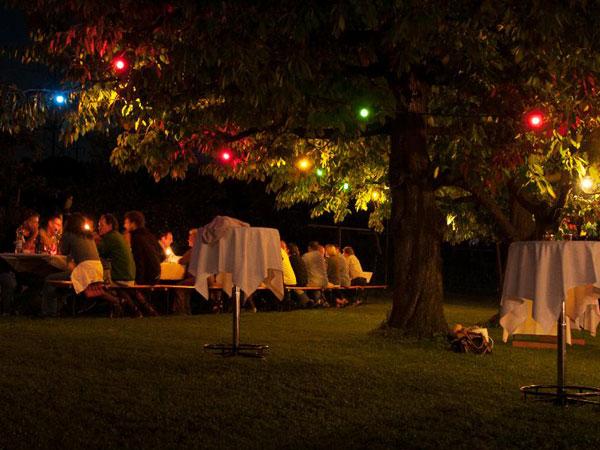 Sommerabend, Grillfeier, Romantik, Unter Baeumen